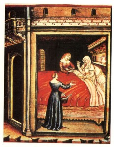 A patient taking barley water. Theatrum sanitatis,15 century
